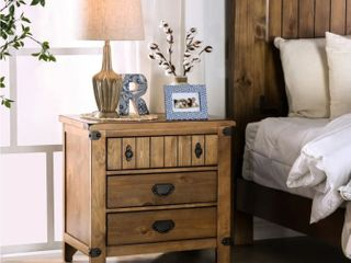 Furniture Of America Farmhouse Side Table With Outlets And USB