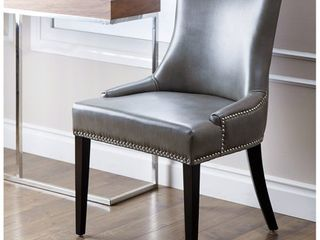 Abbyson Newport Grey leather Nailhead Trim Dining Chair  Retail 252 99