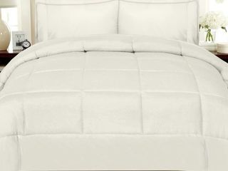 Sweet Home Collection luxury Solid 7 piece Bed In a Bag with Sheet Set  Full Size  Ivory