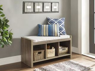 Penelope Entryway Storage Bench with Cushion   Distressed Gray Oak   Ameriwood Home  Brown