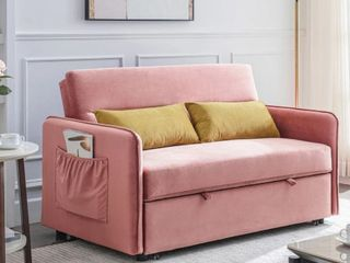 Compact Soft Velvet Sofa Bed Pull Out Sleeper With 2 lumbar Pillows Retail   1082 99