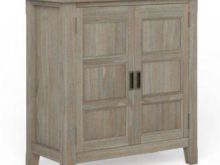 Simpli Home Burlington Solid Wood 30 Inch Wide low Storage Cabinet   Distressed Gray