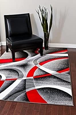 2305 Gray Black Red White Swirls 5 2 x7 2 Modern Abstract Area Rug Carpet by Persian Rugs