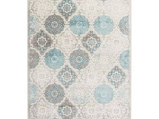 Home Dynamix Boho Andorra Bohemian Area Rug  Transitional Gray Aqua Ivory 5 2 x7 2   HD7585 705
