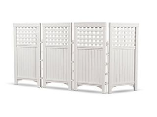 Suncast 4 Enclosure Freestanding Steel Resin Reversible Panel Outdoor Screen TRE  4 panles  pack of 1  White