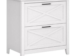 Bush Furniture Key West 2 Drawer lateral File Cabinet  Pure White Oak   Not Inspected