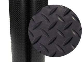 Rubber Cal 03 206 W100 08 Diamond Plate Flooring Rolls  1 8 Inch x 4 x 8 Feet  Black