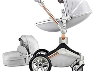 Baby Stroller 360 Rotation Function Hot Mom Baby Carriage Pu leather Pushchair Pram 2020 Dark Grey   Not Inspected