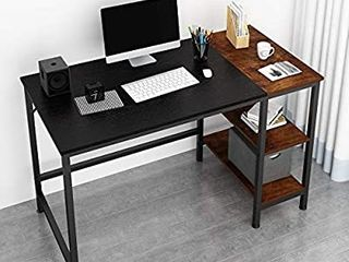 JOISCOPE Home Office Computer Desk  Study Writing Desk with Wooden Storage Shelf  2 Tier Industrial Morden laptop Table with Splice Board 55 inches Black Oak Finish