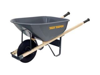 True Temper R6FF25 6 Cu  Ft Steel Tray Wheelbarrow  6 Cubic Foot Capacity