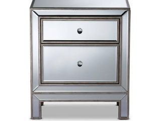 Baxton Studio Fadri 2 Drawer Mirrored and Antique Sliver Nightstand 24 in  H x 21 in  W x 14 in  D