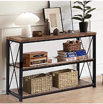 IWEll 47 2 Inch Console Table with 3 Open Shelves  3 Tier Sofa Table  Entryway Table  TV Stand  Narrow long Table for Entryway  living Room  Easy Assembly  Not Inspected