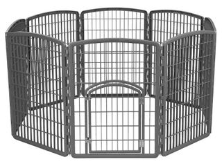 IRIS Exercise 8 Panel Pen Panel Pet Playpen with Door   34 Inch  Gray