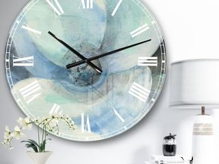 Designart  Watercolor Moonlight Magnolia II  Farmhouse large Wall Clock   23 in  wide x 23 in  high