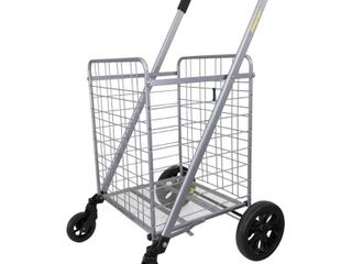 dbest products Cruiser Cart Deluxe Shopping Grocery Rolling Folding laundry Basket on Wheels Foldable Utility Trolley Compact lightweight Collapsible  Silver and Black