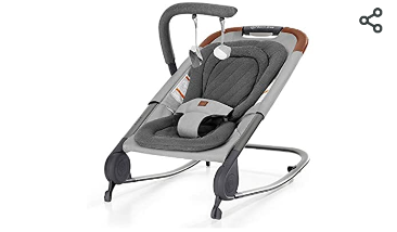 born free KOVA Baby Bouncer   Baby Rocker with Two Modes of Use  Removable Toys and Compact Fold for Storage or Travel   Easy to Clean  Machine Washable Fabrics  Grey