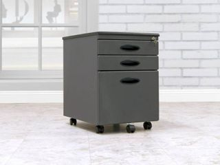 Vertical Filing Cabinet  Mobile File Cabinet with locking Drawers   Pewter  Silver  DAMAGED