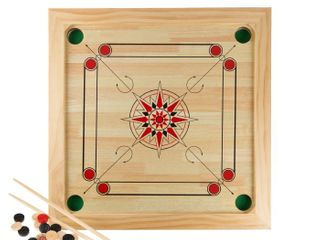 Carrom Board Game Classic Strike and Pocket Table Game with Cue Sticks  like Table Shuffleboard or Finger Billiards