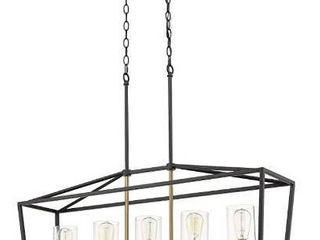 Emliviar Modern 5 light Kitchen Island Pendant light Fixture  linear Pendant lighting  Black and Gold Finish with Clear Glass Shade  P3033 5lP