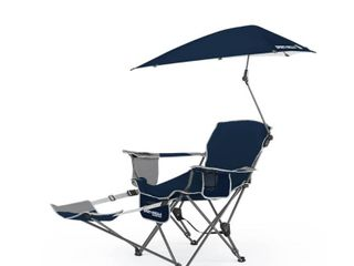 Sport Brella 3 Position Recliner Chair with Removable Umbrella and Footrest  Midnight Blue