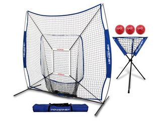 PowerNet DlX Combo 6 Piece Set for Baseball Softball 7x7 Practice Net Bundle w Strike Zone  Ball Caddy   3 Weighted Training Balls   Not Inspected