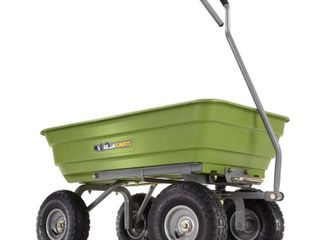 Gorilla Carts Poly Garden Dump Cart with Steel Frame and 10  Pneumatic Tires with a Capacity of 600 lb  Green   Not Inspected