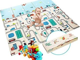 Extra large Baby Play Mat Foldable Reversible Non Toxic Foam Crawl Playmat Waterproof Kids Baby Toddler Outdoor or Indoor Use  70 8x78x0 4in GreenA ForestA  A AnimalA World   light Blue DAMAGED  SEVERAl HOlES