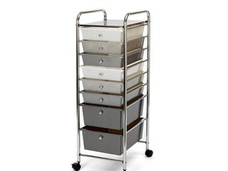 8 Drawer Storage Bin Organizer Cart  White Gray Black Gradient by Seville Classics   Not Inspected