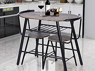 GreenForest Dining Table Set 3 Piece Rustic Breakfast Bistro Pub Table with 2 Chairs for Kitchen and Restaurant  Walnut NOT FUllY INSPECTED OUTSIDE BOX