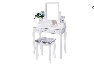 Bewishome Sku FST01W Vanity Table   Not Inspected