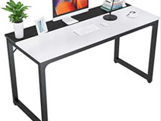 Computer Desk 47 inch Modern Sturdy Office Desk Study Writing Desk for Home Office  Coleshome  WhiteAaA
