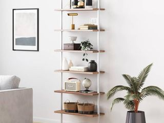 Theo 6 Shelf Tall Bookcase Wall Mount Bookshelf Natural Wood Industrial Metal Frame Rustic Oak White