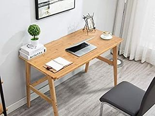 Nnewvante Writing Computer Desk 46  Bamboo Home Office Table with 2 Drawers Modern Furniture Simple Study Makeup Workstation