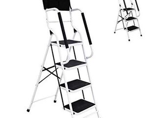 charaHOME 4 Step ladder Step Stool 500 lb Capacity Folding Portable ladder Steel Frame with Safety Side Handrails Non Slip Wide Pedal Kitchen and Home Stepladder with Attachable Tool Bag