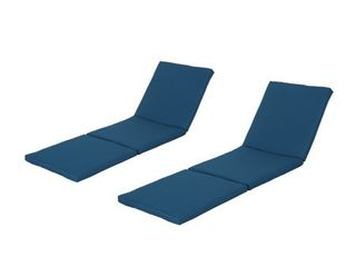 Christopher Knight Home Jamaica Outdoor Water Resistant Chaise lounge Cushions  2 Pcs Set  Blue