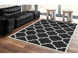 Ottomanson Paterson Collection Jute Back Moroccan Trellis Design Area Rug  5 3  X 7 0  Black