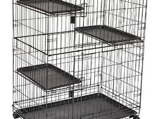 AmazonBasics large 3 Tier Cat Cage Playpen Box Crate Kennel   36 x 22 x 51 Inches  Black