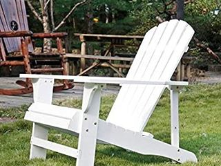 SFYlODS White Outdoor Painted Wood Fashion Adirondack Chair Muskoka Chairs Patio Deck Garden Furniture