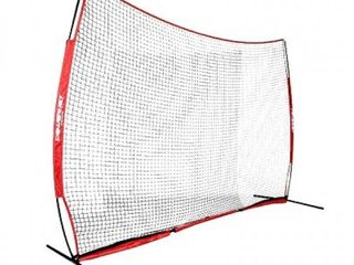 PowerNet 12 ft x 9 ft Sports Barrier Net   108 SqFt of Protection   Safety Backstop   Portable EZ Setup Barricade for Baseball  lacrosse  Basketball  Soccer  Field Hockey  Softball  Red
