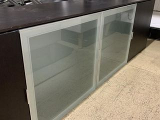 Stylish 9 Ft Floating Cabinet with Glass Doors and