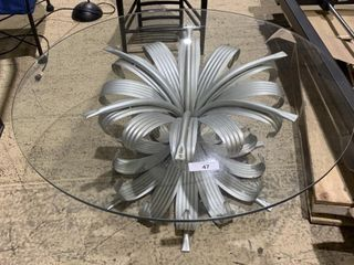 Art Deco Glass Top Floral Coffee Table