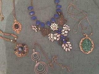 Six costume jewelry necklaces