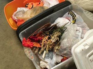 Totes of fall decorations