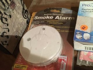 Box of alarms and supplies