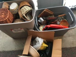 Baskets and kitchen items