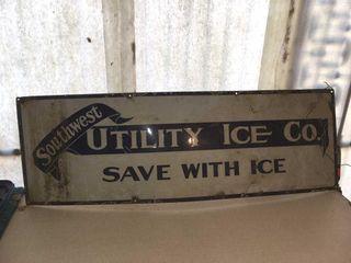 Metal ice company sign