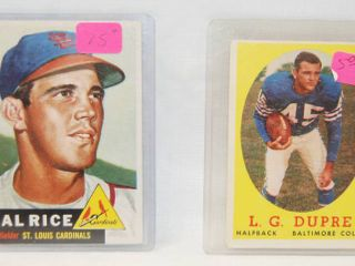 1953 Topps   93 Hal Rice St  louis Cardinals   1958 Topps  117 l G  Dupre Baltimore Colts   Baylor