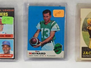 lot of 3 Collector Cards  1970 National league RBI leaders  Baseball   1969 Jets Football  Don Maynard    1958 Topps  76 Jack Butler Steelers