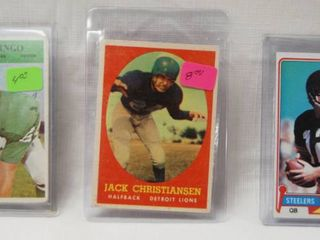 lot of 3 Collector Cards   1966  141 Jim Ringo Philadelphia Eagles   1958 Topps  70 Jack Christiansen lions   1981 Terry Bradshaw Topps  375   Pittsburgh Steelers