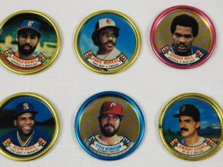 Collection of Small Chips  Quarter size  with Baseball Players on them